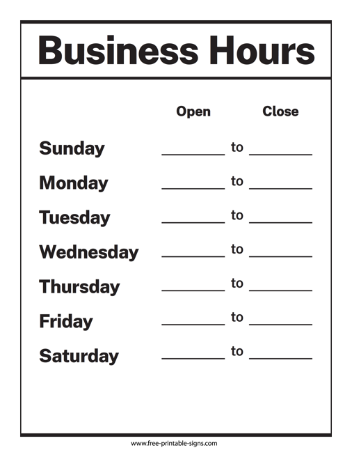 image relating to Printable Business Hours Sign identify Printable Business office Hrs Signal Totally free Printable Signs or symptoms