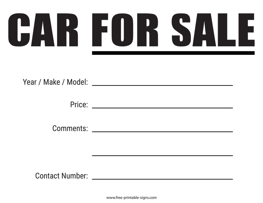 graphic regarding For Sale Sign Printable named Printable Auto For Sale Indication Absolutely free Printable Signs and symptoms