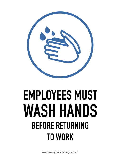 graphic relating to Free Printable Hand Washing Posters named Printable Personnel Need to Clean Arms Indicator Totally free Printable Indications
