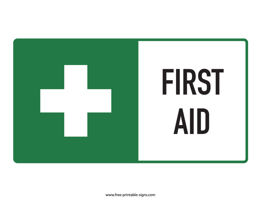 image regarding Printable First Aid Sign referred to as Printable 1st Guidance Indication Cost-free Printable Indications