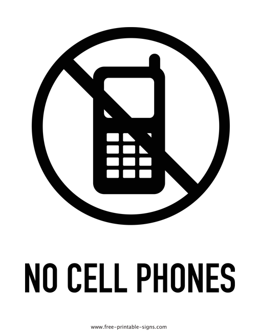 graphic regarding Free Printable Black and White Images referred to as Printable No Mobile Telephones Signal Free of charge Printable Indications