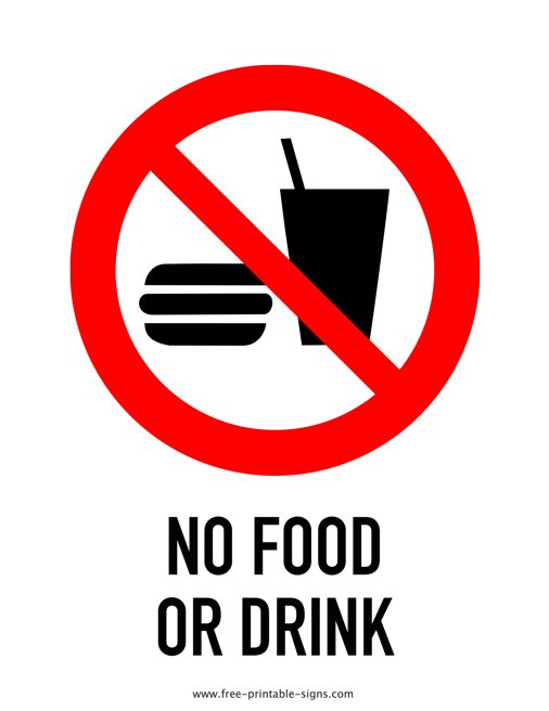 image regarding Free Printable Signs identify Printable No Foods Or Consume Indicator No cost Printable Indicators