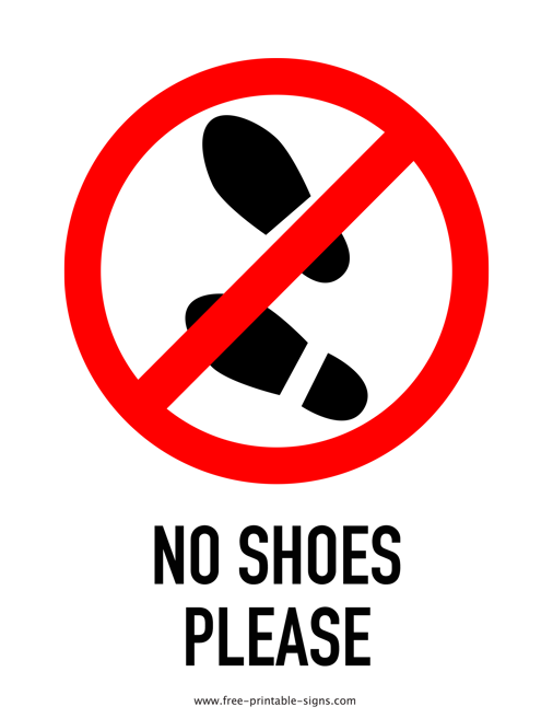 graphic relating to No Food or Drink Signs Printable named Printable No Sneakers Make sure you Indication Absolutely free Printable Signs and symptoms