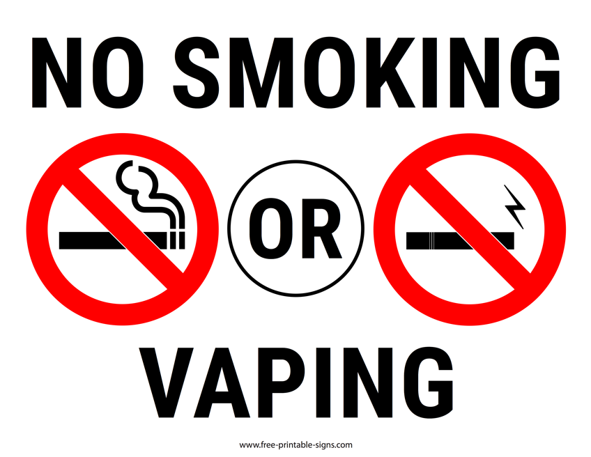 Printable No Smoking Or Vaping Sign Free Printable Signs