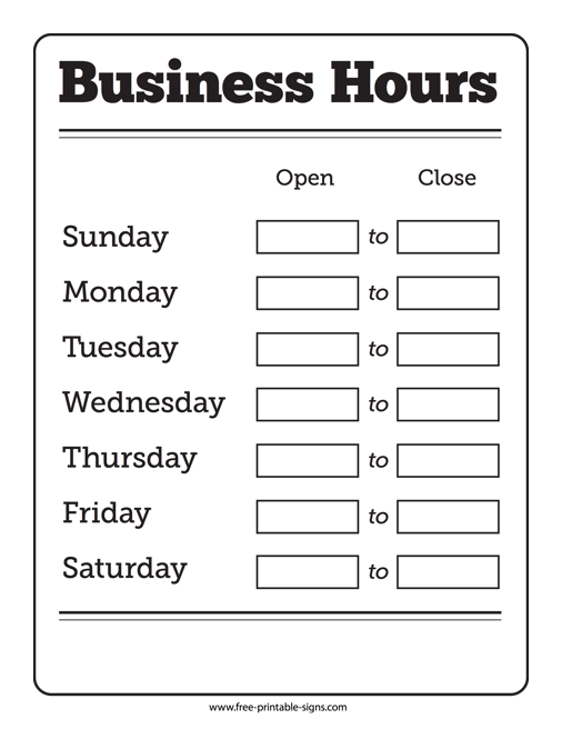 picture relating to Printable Business Hours Sign known as Printable Opening Hrs Signal Totally free Printable Symptoms