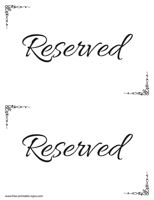 It is a photo of Printable Reserved Signs regarding 8.5 by 11